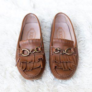 Tod's Tan Fringe Driving Loafer